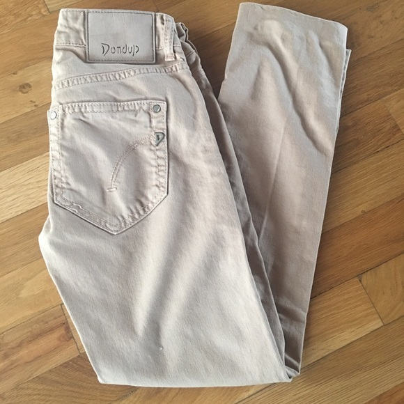 on sale 4576e e54a9 Dondup Monroe Khaki Ankle Cropped Skinny Jeans 25